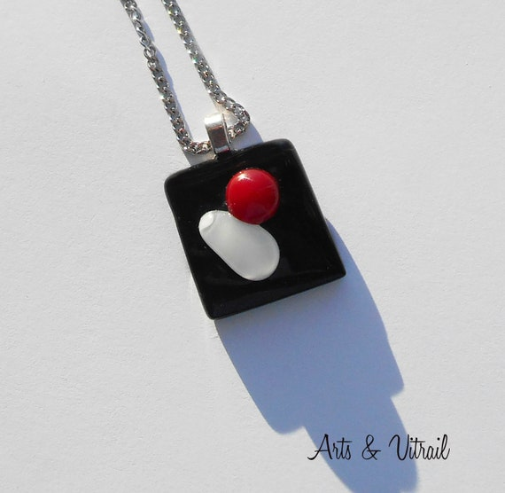 Necklace Black with  White and Red Glass Pendant, Stainless Steel Chain
