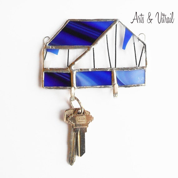 Key Holder for Wall, Indigo and Clear Stained Glass Wall Key Ring, Wall Decoration, Mail Organizer, Ideal Gift for Housewarming