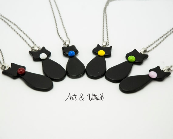 Black Cat Necklace, Cat's Necklace Color, Black Glass Jewel, Chain Stainless Steel