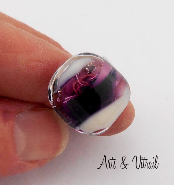 Pink Ring, White, Black and Pink Glass, Fusing Glass Jewel, Adjustable Silver Ring in Pink, White and Black Glass, Square ring