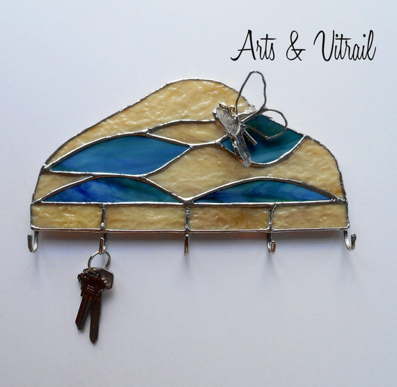 Key Holder for Wall, Turquoise and Amber Stained Glass Wall Key Ring, Wall Decoration, Mail Organizer, Ideal Gift for Housewarming