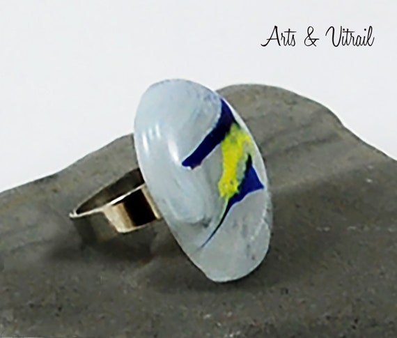 White Ring Glass adjustable, Blue and Yellow, Fusing Glass Jewel, Adjustable Silver Ring oval ring