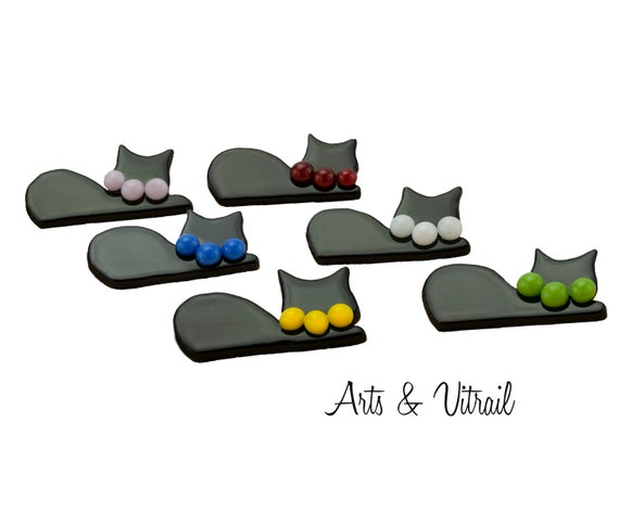 Cat Glass Brooch, Black  Cat's Necklace Color made with Mini Colored Glass Cabochons, Stainless Steel Brooch Pin, Corsage