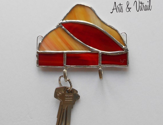 Key Holder for Wall, Red-Orange and Amber Stained Glass Wall Key Ring, Wall Decoration, Mail Organizer, Ideal Gift for Housewarming