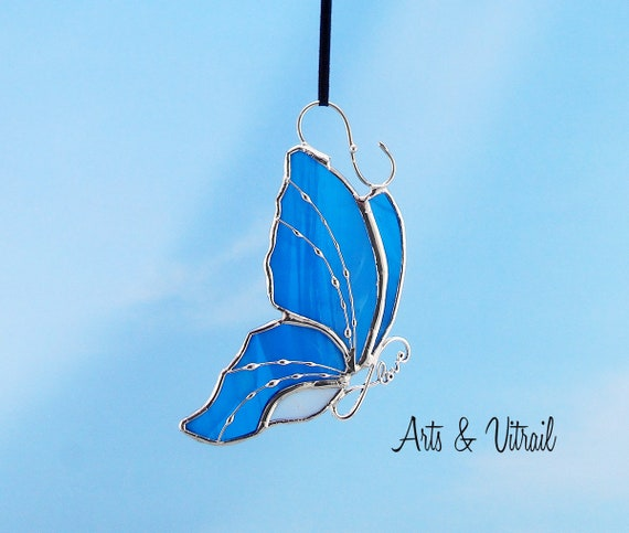 Stained Glass Butterfly Blue and White Suncatcher Carrying an Infinity Message-Body INFINITY Love, Hope, BestFriends or Live Love Laugh