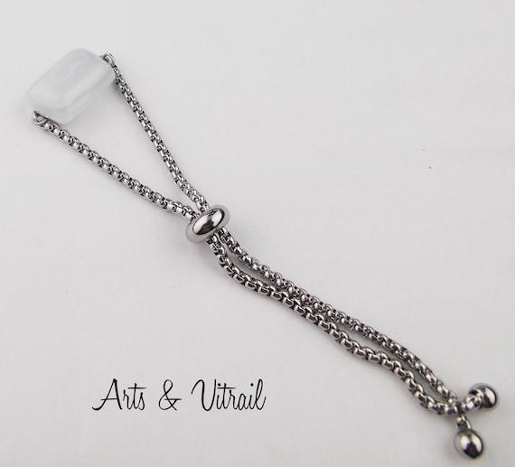 Adjustable White Bracelet, Hand-cut White Rectangle Glass, Stainless Steel Bracelet
