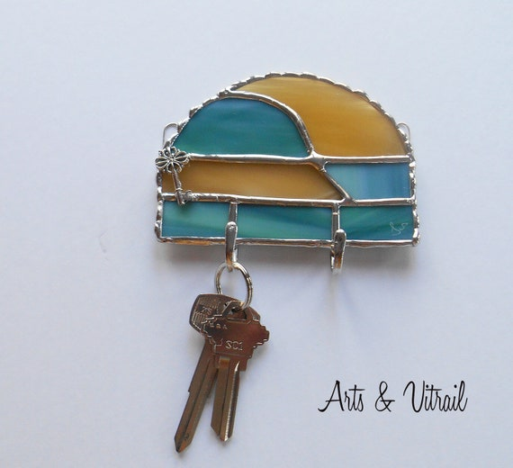 Mail Organizer, Key Holder for Wall, Turquoise et Amber Stained Glass Wall Key Ring, Wall Decoration, Ideal Gift for Housewarming