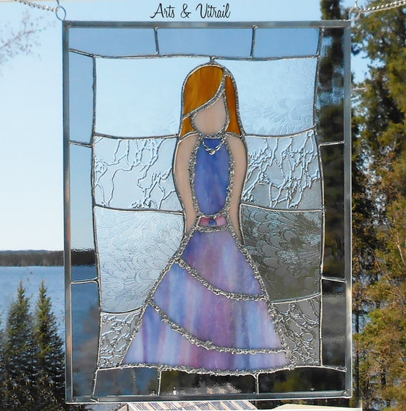 "Stained Glass Panel, Stained Glass Lady  ""Agnes"", Zinc Framing, Decorative Welding, Suncatcher Stained Glass"