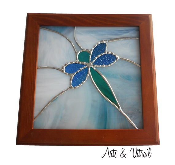 Wooden Box, Dragonfly Stained Glass, Stained Glass Cover, Jewel Box, Storage Box, Wooden Box