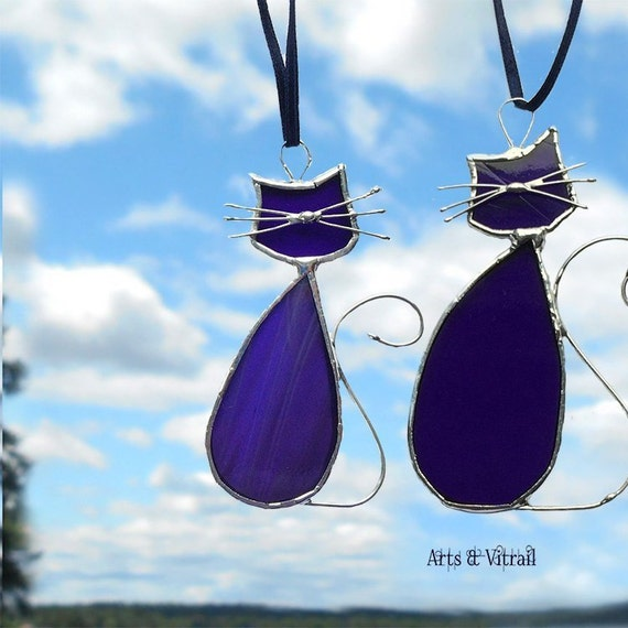 Stained Glass Purple Cat Suncatcher - Cats Lovers MADAME-MONSIEUR - Cat Glass for Windows, Miror or Rearview
