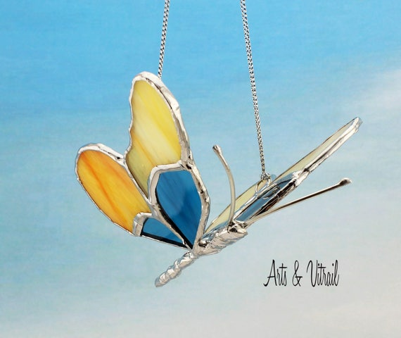 Butterfly 3D Stained glass - Butterfly in Flight, Wings are Amber and Blue, Handmade Lead Body