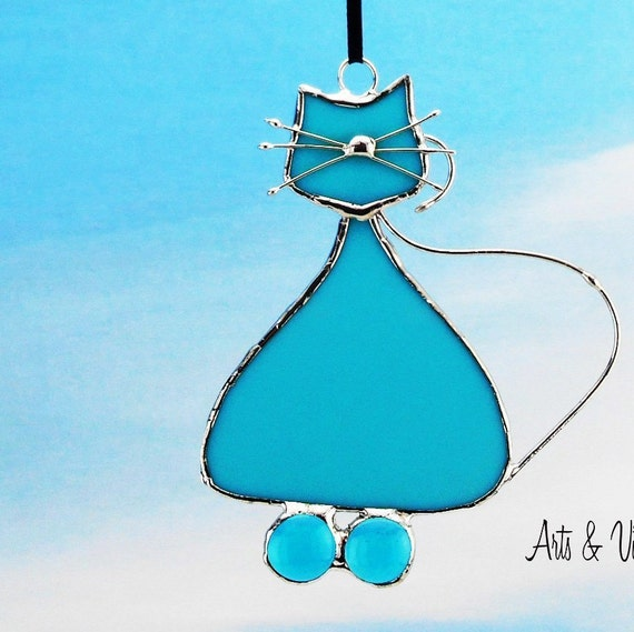 Stained Glass Cat Suncatcher - Name is DODU, Opalescent Turquoise Glass - Stained Glass Hanging - Cat Glass - Cat Family - Beautiful Cat