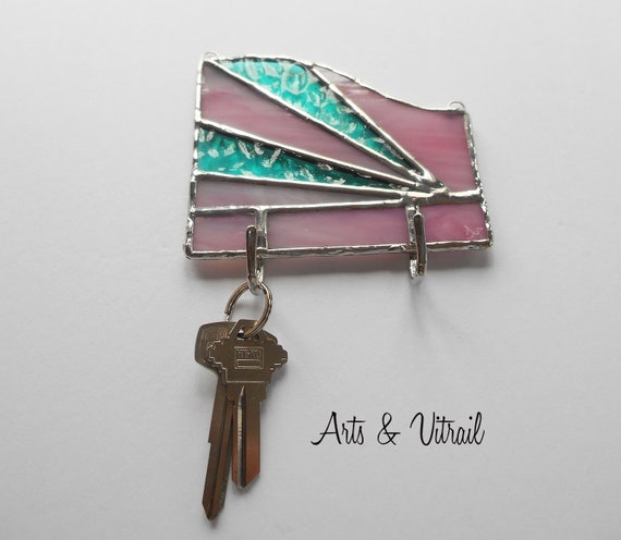 Key Holder for Wall, Pink and Aqua Stained Glass Wall Key Ring, Wall Decoration, Mail Organizer, Ideal Gift for Housewarming