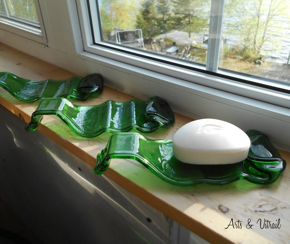 Soap Dish Beer Bottle, Heineken Beer, Original Soap dish, Fusing Glass Bottle, Bathroom Decoration or Spa