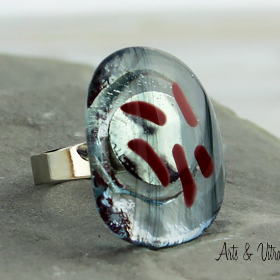 Red Clear Ring, Woman Ring, Fusing Glass Jewel, Adjustable Silver Ring in Glass