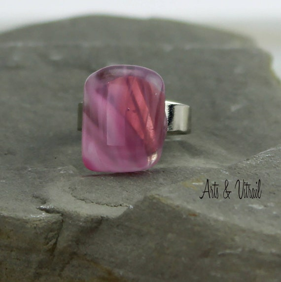 Pink Ring, White, Clear and Pink Glass, Fusing Glass Jewel, Adjustable Silver Ring in Pink, White and Clear Glass, Rectangle ring