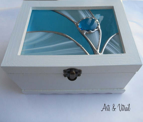 Wooden jewel box, White, Dragonfly Stained Glass, Stained Glass Cover, Jewel Box, Storage Box, Wooden Box