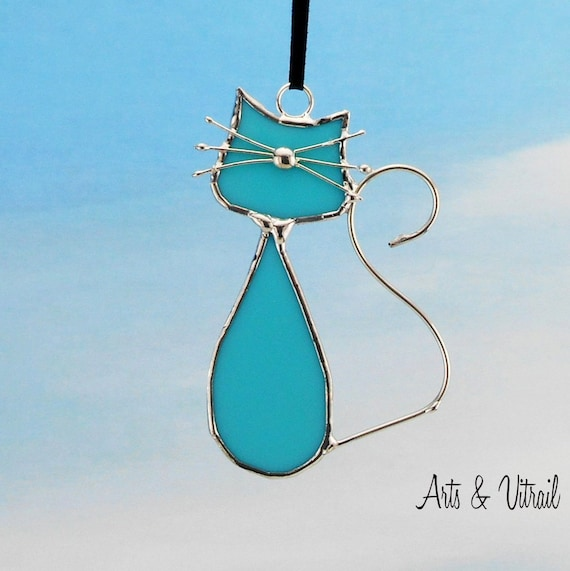 Stained Glass Cats Suncatcher - Turquoise Family - Opalescent Turquoise Glass - Stained Glass Hanging - Cat Glass - Beautiful Cat