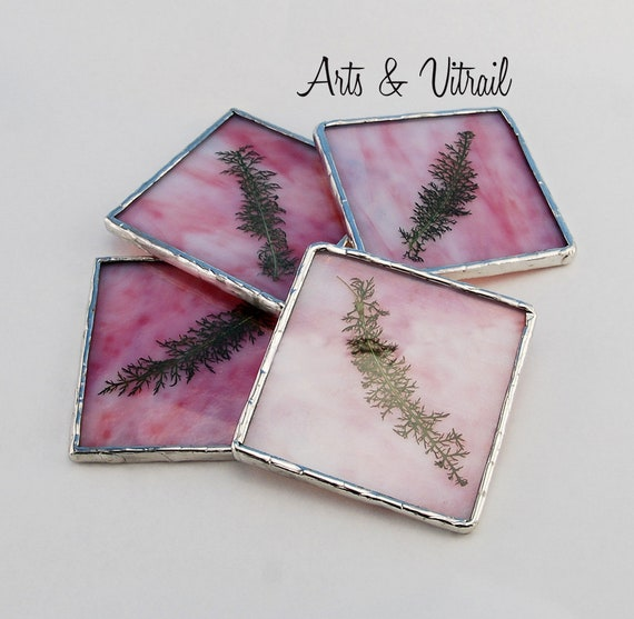 Pink-Coral Stained Glass Coasters, Set of 4, Dried Leaf Between an Pink Glass and a Clear Glass, Lead-Free Solder
