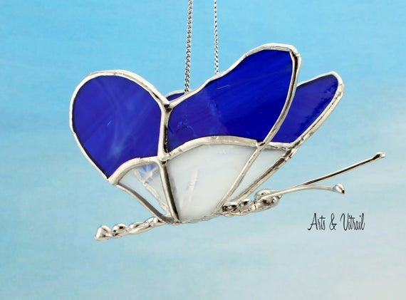 Butterfly 3D Stained glass - Butterfly in Flight, Wings are White and Blue, Handmade Lead Body