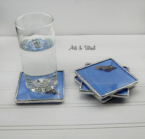 Blue Stained Glass Coasters, Set of 4, Dried Purple Flower Between an Blue Glass and a Clear Glass, Lead-Free Solder