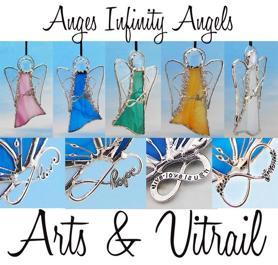 Angel Stained Glass Suncatcher - Carrier INFINITY message, with decorative solder