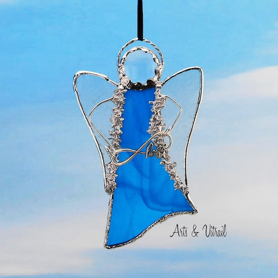 Angel Stained Glass Blue Suncatcher - Carrier Infinity Message to Love, Hope, Best Friends or Live Love Laugh
