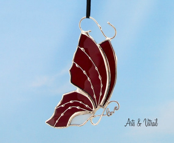 Stained Glass Red and White Butterfly Suncatcher Carrying an Infinity Message-Body INFINITY Love, Hope, BestFriends or Live Love Laugh