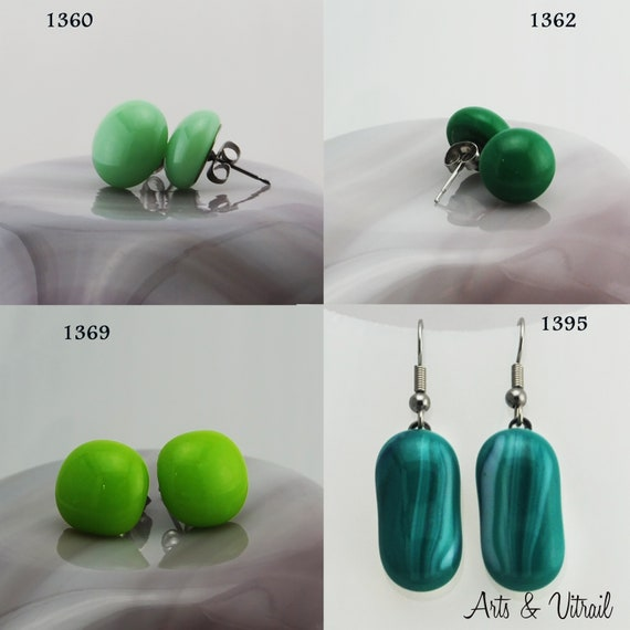 Green Earrings, Stud or Dangle Drop Earrings, Glass Earrings, Stainless Steel