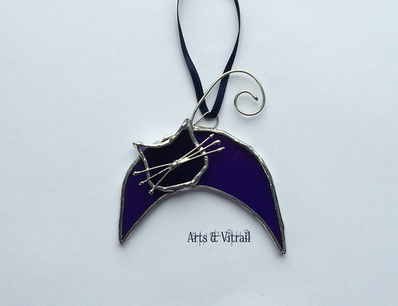 Stained Glass Cat LUNA. Purple Glass, Stained Glass Hanging for Windows, Mirror or Rearview