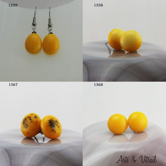 Yellow Earrings, Stud or Dangle Drop Earrings, Glass Earrings, Stainless Steel
