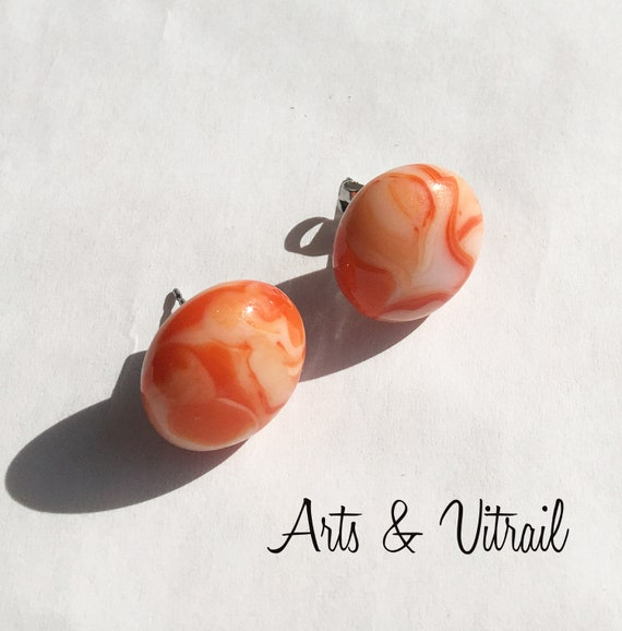 Orange Earring, Peach and Cream in Glass, Stud Stainless Steel
