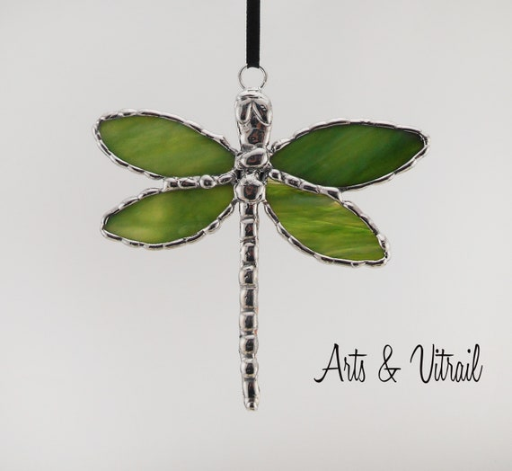 Stained Glass Dragonfly, Glass Wings and Lead Body, the Body is Handmade Lead , Mainmade Gift