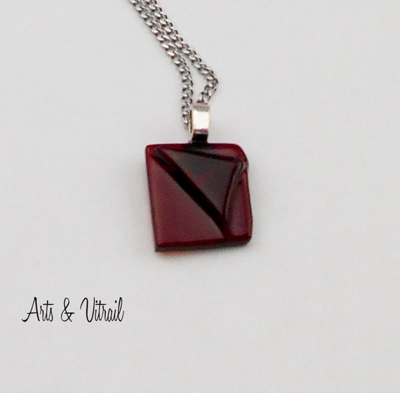Red Glass Necklace, Relief in Red Glass, Handmade Pendant,  Stainless Steel Chain