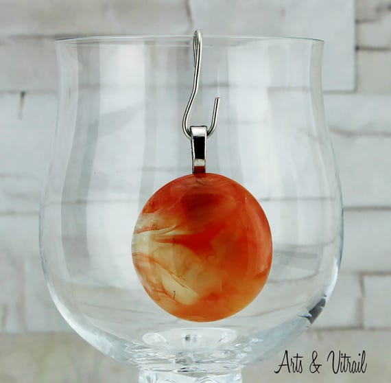 Necklace, Colors  Orange, Gold, Peach, Clear pendant, round, with a Stainless Steel Chain