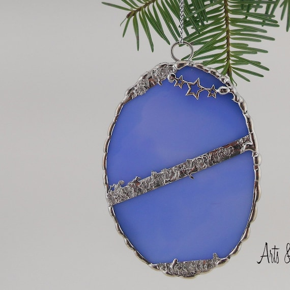 Stained Glass Christmas Ornament, blue oval, welder stars, decorative solder