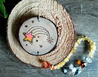 Suncatchers - Citrine Suncatcher, Stars Suncatcher, Wooden Suncatcher, Wood Suncatcher Yellow Pink Suncatchers, Star, Australia Handmade