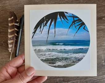Surf Beach Greeting Card, Handmade Photo Card, Queensland Greeting Card, Ocean Waves, Blank Greeting Card, Happy Valley Caloundra, Summer
