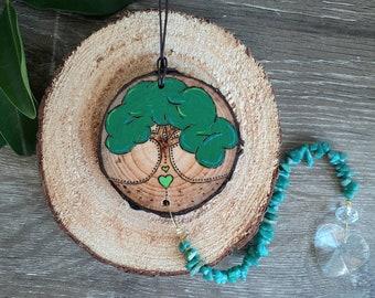 Tree of Life Suncatcher - Amazonite Suncatcher, Aqua Green Bead Suncatcher, Wooden Suncatcher, Tree Suncatchers, Amazonite Chip Beads, Trees