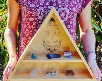 Buddha Crystal Shelf - Triangle Crystal Shelf, Wooden Crystal Shelf, Handcrafted Crystal Shelf, Wooden Crystal Shelf, Spirituality Gifts