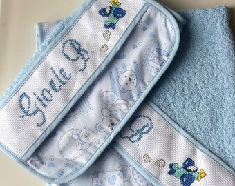 Cross stitch embroidered towel set bib and asylum-Back to school