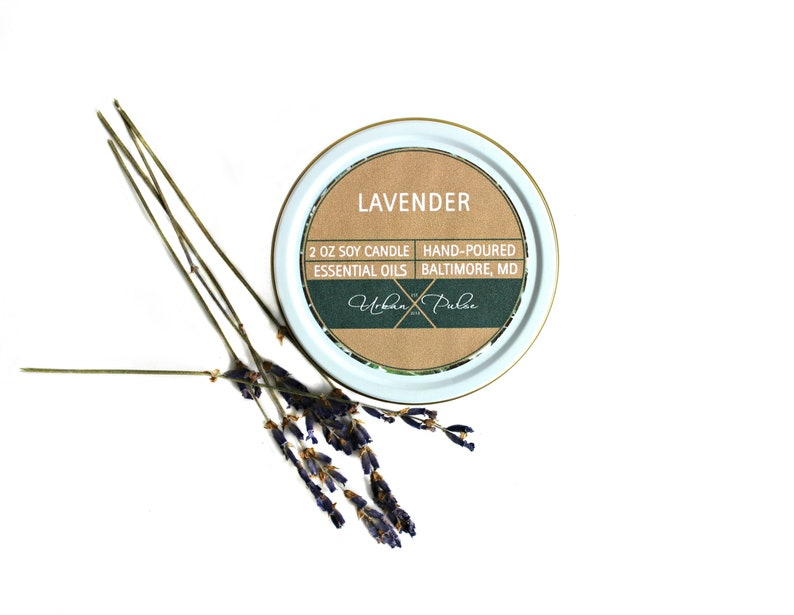 Homemade Healing Organic Travel Tin Candles Lavender Soy Wood Wick Candle 2 oz Essential Oil Massage Mini Gift for Her