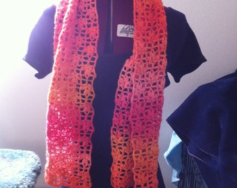Openwork floral crochet scarf in light weight wool blend.  Beautiful fruit smoothie colors.