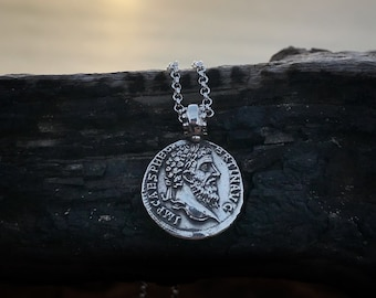 King Coin Necklace, Silver Necklace, Coin Necklace, Ancient Roman Coin, Gift, Boho Necklace, Curly King Hipster Necklace Roman Coin Necklace