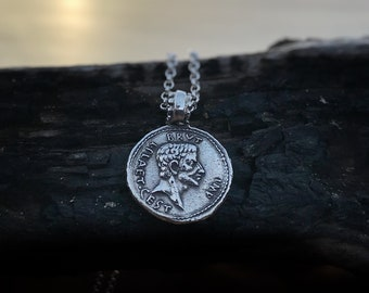 Caesar Coin Necklace, Silver Necklace, Coin Necklace, Ancient Roman Coin, Gift, Boho Necklace, EID MAR, Hipster Necklace Roman Coin Necklace