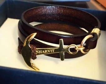 Anchor Leather bracelet, Anchor bracelet, Gold bracelet, Sailor bracelet, Leather bracelet, Sailor jewelry, Ocean jewelry, Anchor jewelry