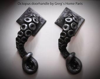x2 Silver Edition Steampunk vintage Octopus door handle