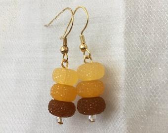 Beaded Orange Fall Ombre Dangle and Drop Earrings