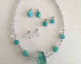 American Girl Doll Blue and Clear Necklace and Earrings