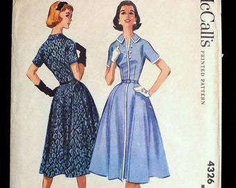 Vintage 1950s McCall's 4326 Sewing Pattern ~ Factory Folded! ~ Lovely Fitted Daytime Dress with Full Flared 6-Gore Skirt! ~ Size 20, Bust 40
